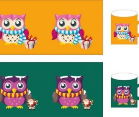 Owl cup set vector