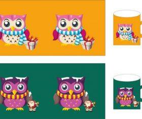 Owl cup set vector