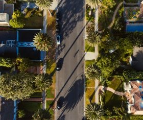 Peaceful green street scenery from high view Stock Photo