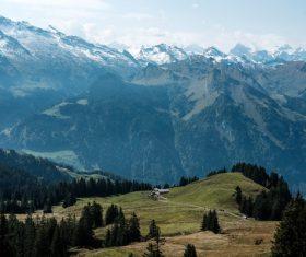 Peaceful mountain range landscape Stock Photo