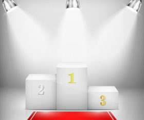 Pedestal with red carpet and spotlights vector