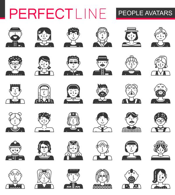 Perfect Line icons   People Avatars