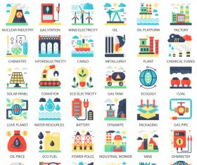 Perfect flat icons – Heavy Power Industry