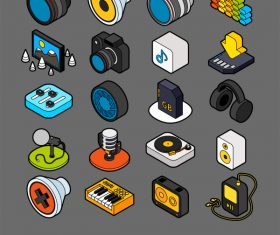 Photo,Music and Device  – isometric outline color icons