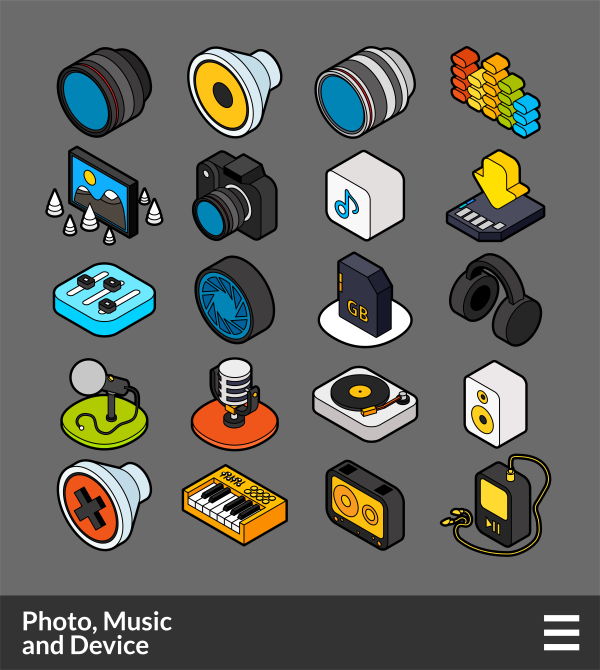 Photo,Music and Device    isometric outline color icons