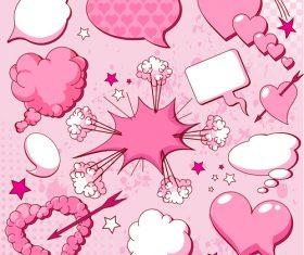 Pink cartoon speech bubbles vector