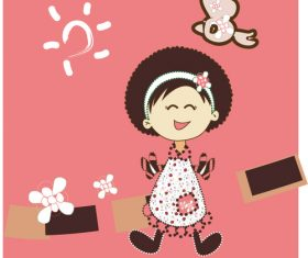 Pink little girl vector