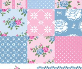 Pink with blue flower seamless pattern vector