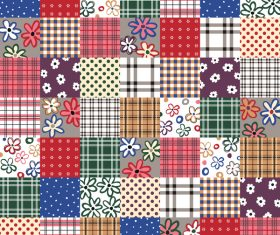 Plaid with flower seamless pattern vector