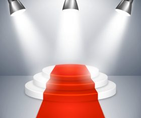 Podium with red carpet and spotlights vector 01
