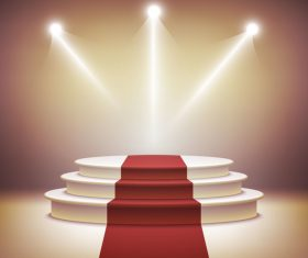 Podium with red carpet and spotlights vector 02