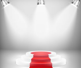 Podium with red carpet and spotlights vector 03