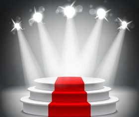Podium with red carpet and spotlights vector 04