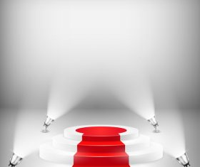Podium with red carpet and spotlights vector 05