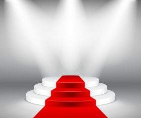 Podium with red carpet and spotlights vector 06