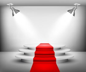 Podium with red carpet and spotlights vector 07