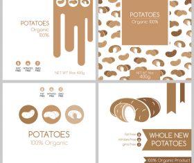 Potatos package box template vector