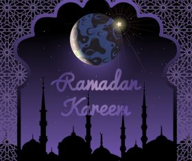Purple ramadan greeting background vector