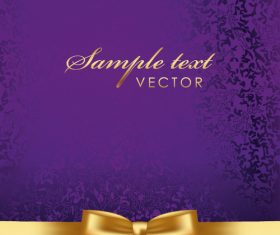Purple with gold luxury background with bows vector