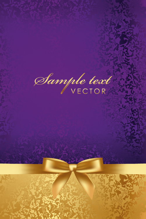 Purple with gold luxury background with bows vector free ...