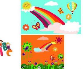 Rainbow Butterfly Cartoon Pattern vector