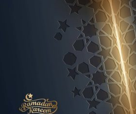 Ramadan Kareem islamic greeting banner with arabic pattern vector