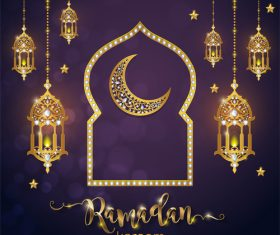 Ramadan kareem golden ornament with background vector 01