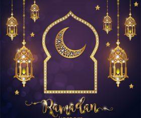 Ramadan kareem golden ornament with background vector 01