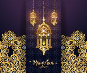 Ramadan kareem golden ornament with background vector 02
