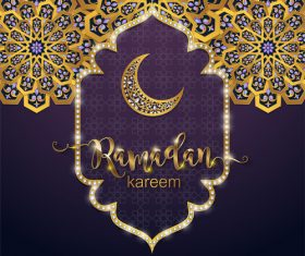 Ramadan kareem golden ornament with background vector 03