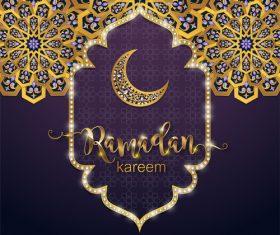 Ramadan kareem golden ornament with background vector 03