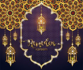 Ramadan kareem golden ornament with background vector 04