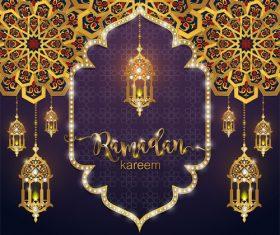 Ramadan kareem golden ornament with background vector 04