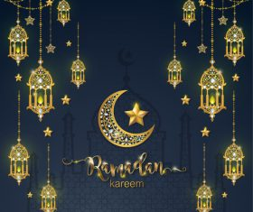 Ramadan kareem golden ornament with background vector 05