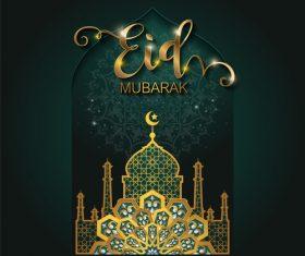Ramadan kareem golden ornament with background vector 06