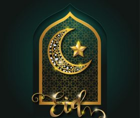 Ramadan kareem golden ornament with background vector 07