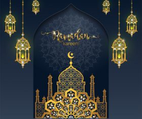 Ramadan kareem golden ornament with background vector 08