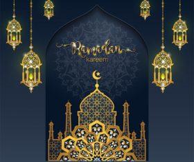 Ramadan kareem golden ornament with background vector 08