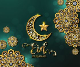 Ramadan kareem golden ornament with background vector 09