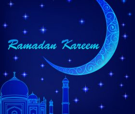 Ramadan mubarak night stars background design vector