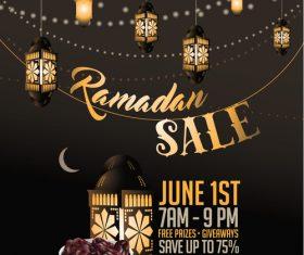 Ramadan sale background with wood floor vector
