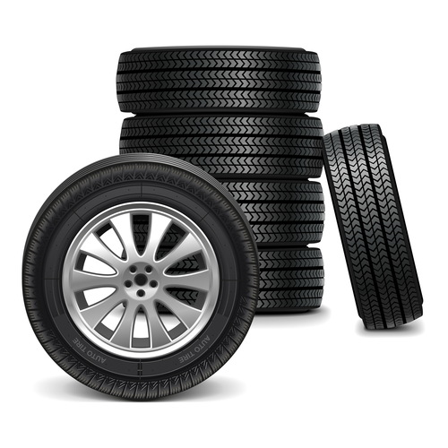 Realistic vehicle tires illustration vector 01