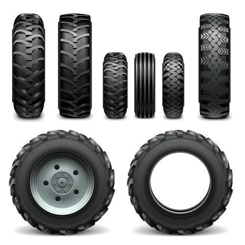 Realistic vehicle tires illustration vector 02