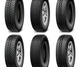 Realistic vehicle tires illustration vector 03