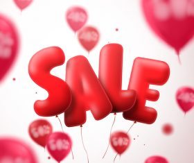 Red balloon with blurs sale background vector