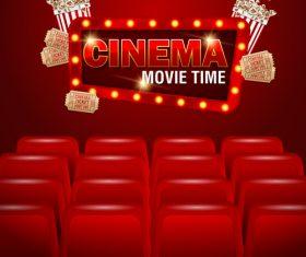Red cinema poster template vectors design 02