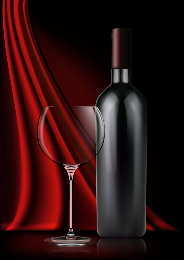 Red damask with wine background vector