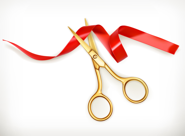 Red ribbon with scissors vector 01