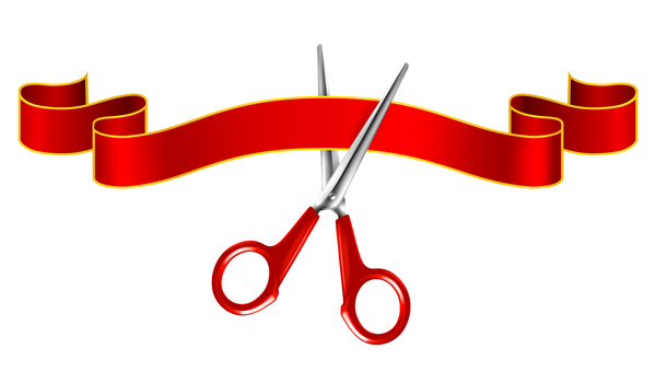 Red ribbon with scissors vector 02