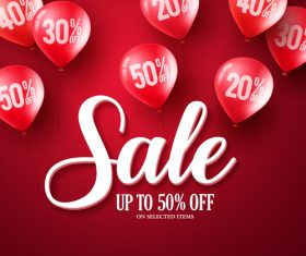 Red sale background and balloon vector 01